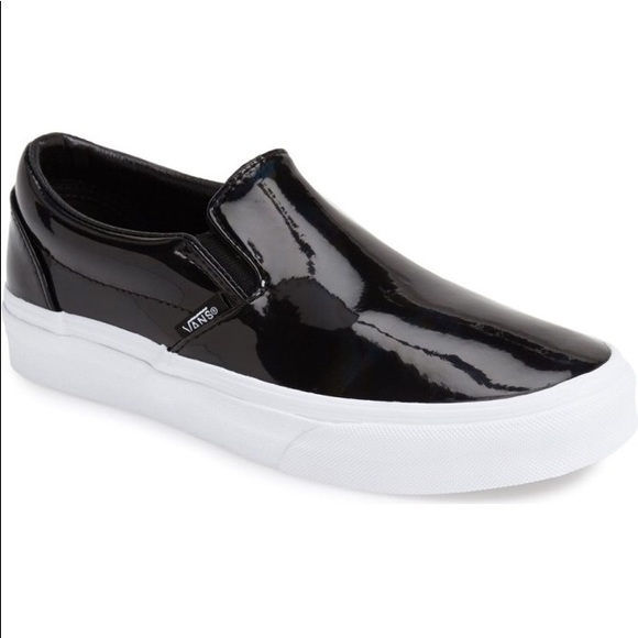 ad9066ee85442c Black Patent Leather Classic Slip-on Vans